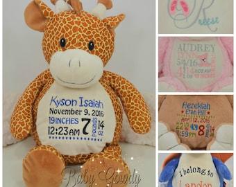Personalized Giraffe - Custom Stuffed Animal - Keepsake - Personalized Baby Gift - Birth Stats Stuffed Animal - Giraffe Stuffed Animal