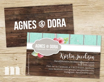 Agnes and Dora Business Card Rustic Wood, Custom Agnes & Dora Business Card, Small Business Marketing, Consultant Shabby Chic PRINTABLE