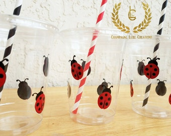 Lady Bug Party Favor Cups (Set of 12)- Lady Bug Party Cups, Birthday Party Cups, Lady Bug  Party, Party Decor, Plastic Favor Cups,