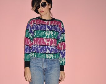 Vintage 80s Magenta Green Purple Digitak Striped Abstract Print Sweater M