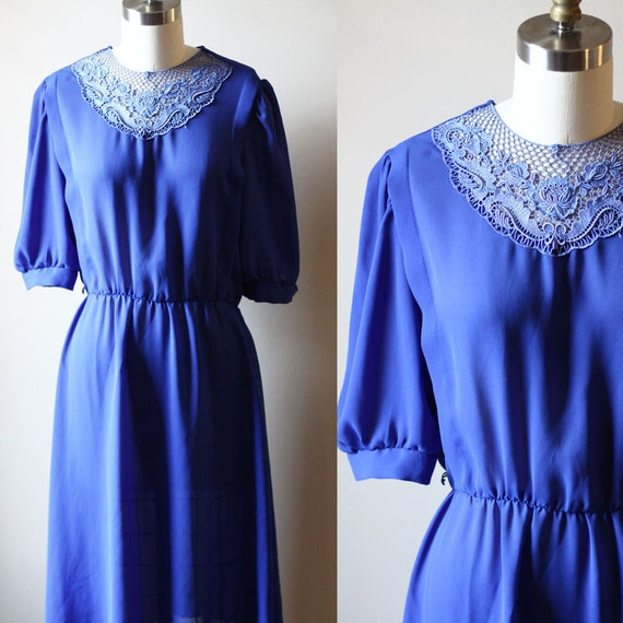1970s royal blue dress //  1970s sheer dress // vintage casual dress