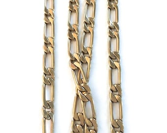 Vintage Polished Brass Curb Chain, 3Ft