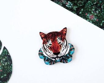 Tiger Brooch - Tiger Pin - Animal Brooch - Jungle Brooch - Tiger Jewellery - Tropical Jewellery - Tiger Illustration - Lapel Pin - Wooden