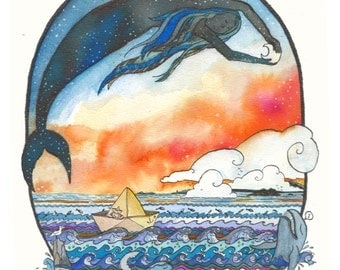 LIMITED EDITION POSTER van de originele tekening met met zeemeermin, zonsondergang, heldere kleuren en papier boot. Fantasierijke dromerige Oceaan / Zee scène