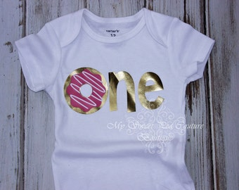 Dount First Birthday Outfit- Personalized- First Birthday Outfit- Donut Grow Up- 1st Birthday- One- Cake Smash Outfit- Donut First Birthday
