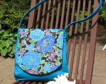Beautiful Blue Shoulder Bag with Flowered Flap