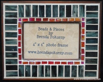 Smoky Teal & Raspberry Mosaic Photo Frame  MOF1335