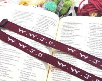 Maroon- Wwjd Bracelet, Bible Journaling, Bookmark