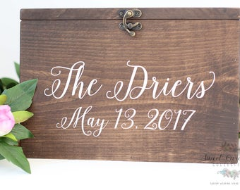 Wedding Money Box   Personalized Wedding Card Box   Wedding Card Holder   Rustic Cards Box with Lid   Wood Card Box with Last Names - WS-251