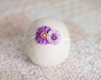 Purple Headband, Purple Flower Headband, Purple Newborn Headband, Purple Baby Skinny Headband, Newborn Photo Prop, Lavender Flower Headband