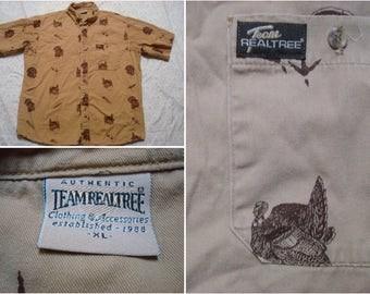Vintage Retro Men's 90's Team Realtree Turkey Camo All Over Print Brown Tan Buttonup Short Sleeve Shirt XL
