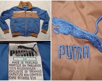 Vintage Retro Men's 80's Puma Jacket Blue Brown Bomber Windbreaker Full Zip Color Block Medium