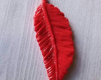 Feathers, Bird Feather, Clay Feathers, polymer clay, Craft Supplies, Feather Jewelry, Flat Back, Paper Supplies, Beads, Boho,  Decoden, Red