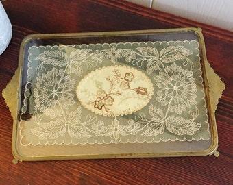 Art Deco Vanity Tray, Brass Vanity Tray, Inlaid Glass Tray, Made in England, Edwardian Era
