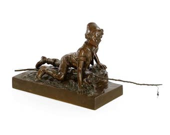 Authentic Austrian Cabinet Bronze Sculpture of Boy Fishing by Berndorf foundry