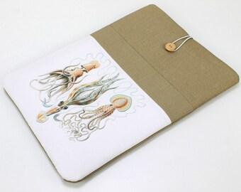 "Custom laptop case, Lenovo Yoga 2 sleeve, 12"" Macbook cover, padded sleeve, front pocket. Squids, Surface Pro 3 case, 15.6 in laptop sleeve"