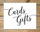 Cards and Gifts Wedding Sign Printable // Cards and Gifts Printable // Black Wedding Printable Signs 5x7 and 8x10