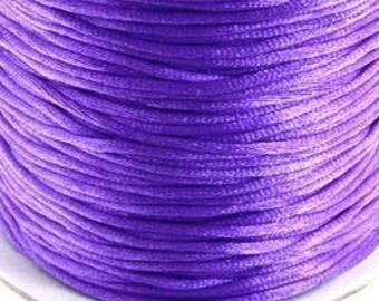 10M  / 11 yd 1.5mm AMETHYST / Purple Satin Rattail Cord, bracelet cord, Kumihimo cord, Jewelry & Knotting cord, Amethyst Purple satin cord