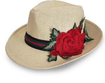 Straw Hat with Red Rose Flower ,Fedora Women Straw Hat, Floppy Hat Fedora