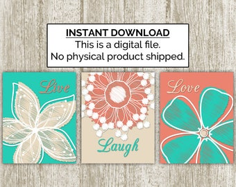 Live Laugh Love Printable, Set of 3, 8x10, Instant Download, Floral Print, Modern Flower, Bedroom, Bathroom Art, Teal Coral Khaki Home Decor