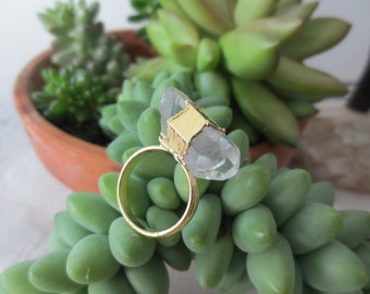 Crystal ring, quartz ring, crystal quartz ring, crystal gold ring, quartz gold ring, adjustable crystal ring