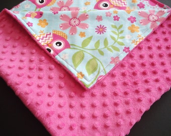 Baby Quilt~Personalized MINKY Blanket~Ready to Ship~ Receiving Blanket~Baby Blanket~Monogram~Handmade~Baby Shower Gift~Pink Blanket