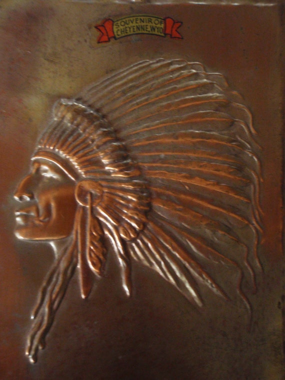 Indian Chief Vintage >> Vintage Indian Chief Copper Plaque Art Deco Native American