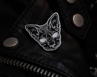 Black Hairless Sphynx Cat Enamel Pin