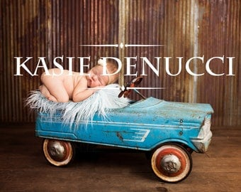 Newborn, sitter, digital backdrop, background, car, blue