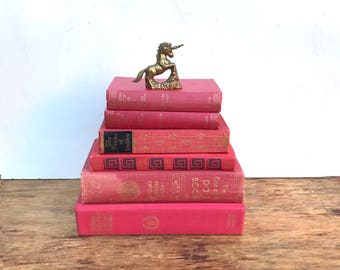 Lot vintage deep dark pink books. Pink book stack. Photo prop. Girl's room display. baby shower centerpiece. wedding table. boho gypsy