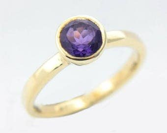Amethyst Gold Ring Purple Amethyst Yellow Gold Rose Gold White Gold Ring Amethyst Engagement Ring