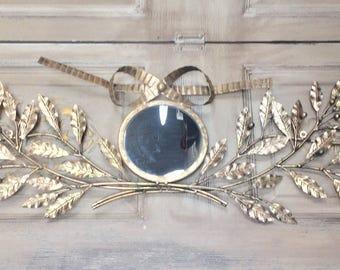 Gold leaf mirror, round gold leaf mirror, Mediterranea Design Studio, gold metal mirror, metal wall decor, antiqued mirror, gold mirror