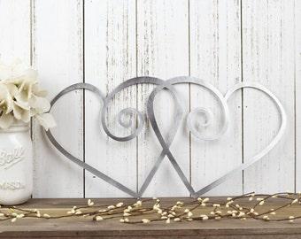 "Hearts Metal Wall Art | Wedding Gift | Wedding Sign | Wedding Decor | Heart Art | Love Wall Art | Valentine's | Valentines | 15""W x 7.5""H"