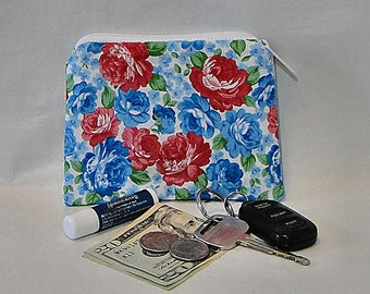 Coin Purse, Purse Make Up Bag, Rose Coin Purse, Coin Purse, Floral Coin Purse, Fabric Coin Purse