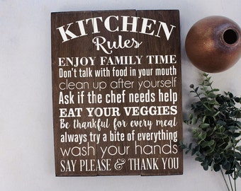 Kitchen Rules Sign Kitchen Wall Decor Rustic Kitchen Sign Farmhouse Decor Kitchen Wall Art