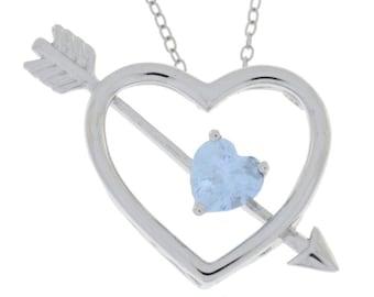 Aquamarine Heart Bow & Arrow Pendant .925 Sterling Silver Rhodium Finish