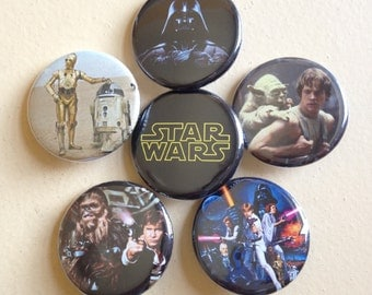 """Star Wars pin back buttons 1.25"""" set of 6"""