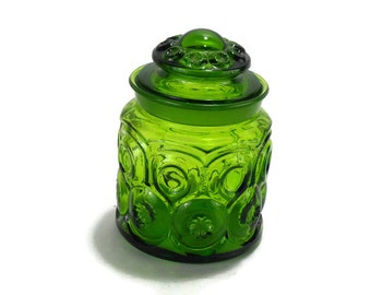 LE Smith Emerald Green Moon and Stars Canister with Ground Glass Lid