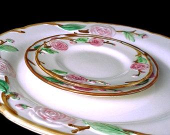 Vintage Metlox Poppytrail 'Camellia' Plates * Set of 3 * Cottage Chic Plates * Chop Salad Bread Plates