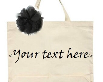 Natural Custom Name Tote w/ Black Tulle Flower