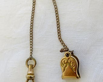 Antique Clip Watch Fob, Gold Filled, Swivel Watch Clip, Signed Simmons