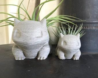 20% OFF!! Limited Time - Large Concrete Bulbasaur Planter - Air Plant Holder - Succulent Planter - Handmade Decor - Pokemon Fan Art