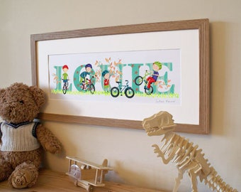 Bicycle / Bike / Cycling theme - Children's / kid's / baby's illustrated name art picture, personalised unframed print