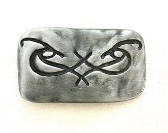 Unique Eyes Engraving On A Mat Silver Tone (Gunmetal) Buckle. Fits 1.57 inch/4cm Wide Belts. For Him/ Her.