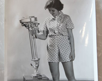 Photo, 8x10 Woman With Neptune AA1-Style Boat Motor