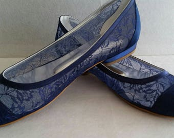 Wedding flat shoes navy blue / babette shoes, Handmade lace ivory flat wedding shoes designed specially   #1006