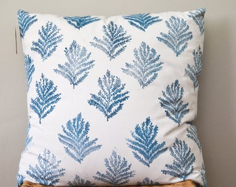 Blue pillow, cushion cover, botanical pillow, removable pillow case, throw pillow, block print pillow, frond pillow