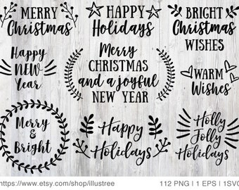 112 Christmas overlays, black and white Christmas clip art for Christmas card, scrapbooking, commercial use, PNG, EPS, SVG, instant download