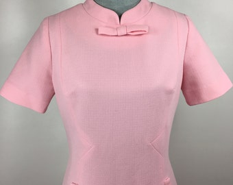 Vintage 1960's Polyester Knit Pink Dress Bow and Buttons (Mr. Jack Dallas)