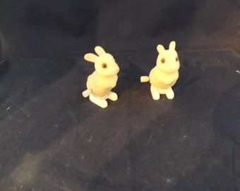 Flocked Fuzzy Wind Up Hopping Bunnies